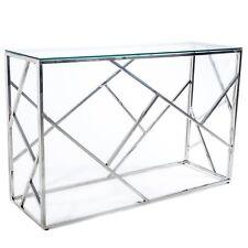 GLAMOUR  TABLE HAUTE VERRE CT01 CT-018-2 ACIER CHROME  MODERNE COMMODE CONSOLE