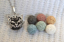 Cat Essential Oil Aromatherapy Diffuser Necklace with 6 lava stones!