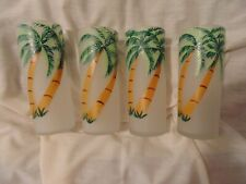 4 Vintage Highball Glasses Hand Painted Tropical Palm Trees Frosted Lot 1