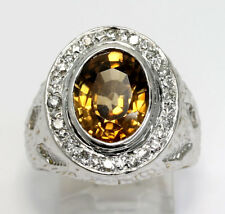 Diamond topaz halo ring 14K 2 tone gold oval round brilliant 6.15CT 18.1G sz 9.5
