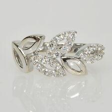Leafy Vine Cutout Right Hand Ring Ladies 18k 750 White Gold White Sapphire