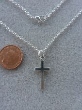 "Cross Pendant Necklace 18"" Silver Plated Chain Birthday Gift Present # 330"