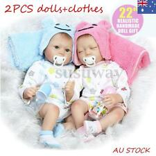 2x 22'' Handmade Real Looking Silicone Lifelike Reborn Baby Dolls Twins Girl Boy