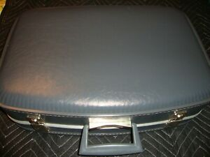Vintage Luggage Hardcase Suitcase Antique Overnight Blue Great Gift!      Box