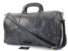Authentic CHANEL Black Quilted Leather Duffel Bag #32965