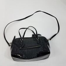 Coach Poppy Satchel Signature Metallic Black E/W Purse Crossbody Shoulder