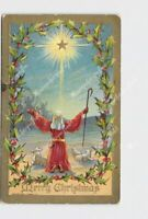 PPC POSTCARD MERRY CHRISTMAS SHEPARD IN FIELD STAR WISEMAN ON CAMELS SHEEP HOLLY