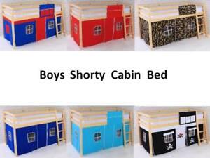 "Bed Shorty Cabin 2FT 6""  Bed Mid sleeper Loft Bunk Kids  New Wooden Pine"