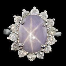 Certified 5.65cttw Star sapphire 1.15cttw Diamond 14KT White Gold Ring