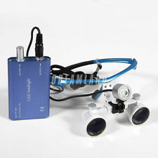 New 3.5x Dental Surgical Binocular Magnifier Glasses Loupes LED Head Light Blue