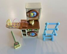 Fisher-Price Loving Family Dollhouse Laundry Room Washer & Dryer, Rack, Broom