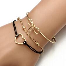 3Pcs/Set Fashion Women Cute Vintage Gold Black Rope Heart Bow Chain Bracelets