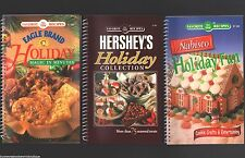 LOT 3 Christmas Holiday Cookbooks DESSERT Baking SWEETS Cookies NEW Recipe BOOKS