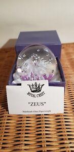 "Royal Crest Handmade Glass Paperweight, ""ZEUS"" Diameter 7 cm Diameter Boxed"