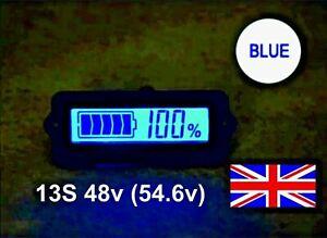 LCD Battery Capacity Indicator Meter Display Blue Li-ion LiPO 13S 48v (54.6v) UK