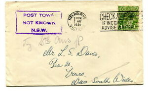 "Australia 1936 1d. green on cover from Melbourne: ""POST TOWN NOT KNOWN N.S.W,"""