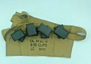 WWII US M1 GARAND 30-06 RIFLE ENBLOC CLIPS and AMMO CANVAS BANDOLEER EN BLOC