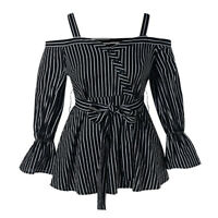 Fashion Ladies Button Plus Size Open Shoulder Belted Stripe Blouse Shirt Tops LY