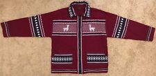 Artesania Landa Red Full Zip Jacket 100% Wool Hand Made in Peru (mint condition)