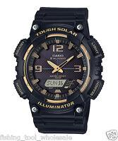 AQ-S810W-1A3 Black Casio Men's Watch Tough Solar 5 Alarms Analog Digital Resin
