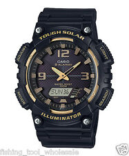 AQ-S810W-1A3 Black Casio Men's Watch Tough Solar 5 Alarms Analog Digital Resin