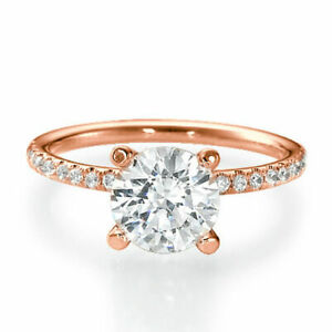 1.35 CT F/SI1 Real Round Cut Diamond Engagement Ring 14K Rose Gold