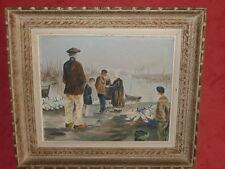 Tableau huile sur toile vue sur port retour de pêche FINISTERE (signé Fabien )