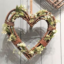 Gisela Graham Large Natural Wicker Heart Wreath. Christmas Wedding Home 50cm