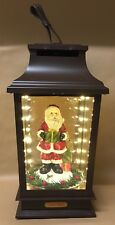 Snowing Brown Lantern With Lights and Music 3 x AA Santa