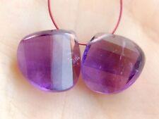 Natural Purple African Amethyst Faceted Twist Heart Briolette Gemstone Beads