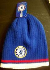 Chelsea FC Football Soccer mens 2 layer acrylic Beanie Hat w/logos Blue w/trim