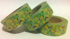 WASHI TAPE - PALE YELLOW FLORAL ON GREEN - 15MM WIDE - 10MTR ROLL