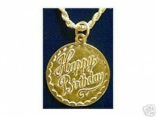 COOL Happy Birthday Pendant Charm Gold Plated Silver cake