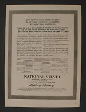 "1945 Mickey Rooney~Elizabeth Taylor~Angela Lansbury ""NATIONAL VELVET"" Movie AD"
