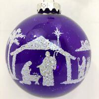 Nativity Christmas Ornament Purple Glass Hungary Ball Iridescent Scratched
