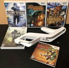 Nintendo Wii Zapper Holder Gun Games Bundle - 5 Games + Gun - Clean & Tested