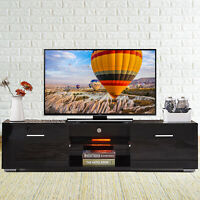 63'' High Gloss LED Shelves TV Stand Unit Cabinet 2 Drawers Console Furniture