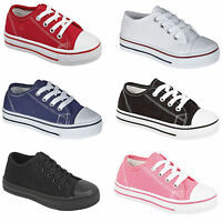 NEW BOYS GIRLS JUNIOR KIDS CANVAS FLAT LACE UP PLIMSOLLS PUMPS TRAINERS SIZE 7-5