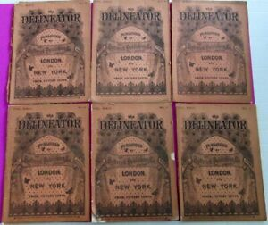 6 DELINEATOR MAGAZINES Antique 1883 Victorian Fashion Clothing Illustrated LOT