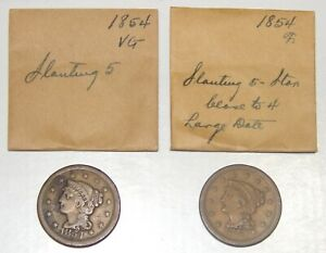 LOT OF 2 1854 LIBERTY BRAIDED HAIR LARGE CENTS 1C