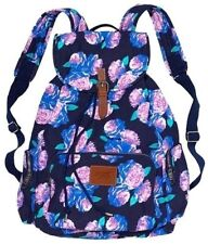 Victorias Secret STUNNING Blue Floral Full Size Backpack School Gym Tote Bag NWT