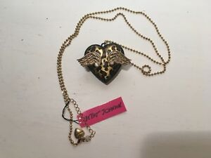 """Betsey Johnson Gold Rhinestone Leopard Winged Heart 30"""" Chain Necklace New"""