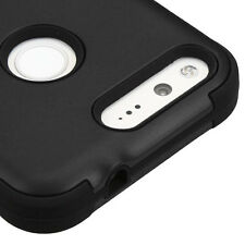 For Google Pixel - BLACK Hybrid Hard & Soft Rubber Armor Impact Skin Case Cover