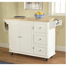 Rolling Kitchen Island Cart Storage Cabinet Extended Top Butcher Block Bar White