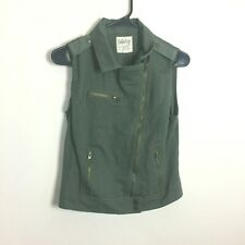Dolled Up Medium Jean Jacket Vest Green Studded Sleeveless Full Zip Military