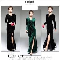 Women Fashion V-neck Velvet Maxi Dress Bodycon Party Evening Cocktail Long Dress