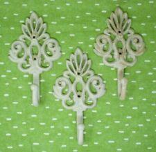 """Cast Iron Metal Coat Hooks Set of 3 8"""" Antique/Vintage Look Fleur de Lis Ornate"""