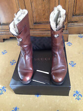 Gucci da uomo Shearling Pelliccia Sintetica Marrone Pelle Stivali UK 7 US 8 EU 41 MADE IN ITALY