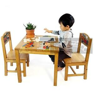 OSAKA Kids Solid eco-friendly rubber Wood 1Table 2Chairs Set AU Hand carved THAI