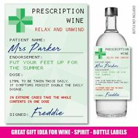 Personalised Prescription WINE VODKA GIN bottle label Teacher Schools Out 150